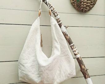 Recycled Hobobag cotton bag upcycled fabric bag hobobag no waste bag Eco bag sustainable bag Boho bag slouchy bag shoulder bag