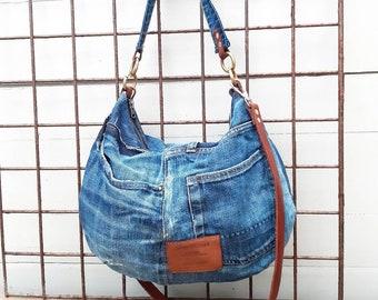 denim hobo bag denim bag denim shoulder bag Adult Denim polka dot purse