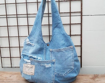 Hobo bag hipster gift recycled jeans Embroidery basket renewable eco friendly fabrics Shopping bag canvas tote stranger thing zero waste