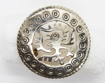 Vintage Mexican Sterling Silver Filigree Brooch Signed Mexico  City Distrito Federal 1940s Mid-Century Modernist Silver Pin