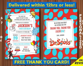 Dr SEUSS Cat in the Hat BIRTHDAY - FREE Thank you card, Dr. Seuss Birthday Party, Cat in the Hat Birthday, Doctor Seuss, Customized, Digital