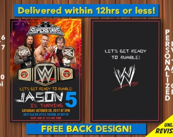 WWE Birthday Invitation With Back Design Digital John Cena Custom Wrestling