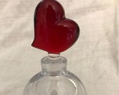 Crystal Perfume Bottle Jar with Red Heart Stopper