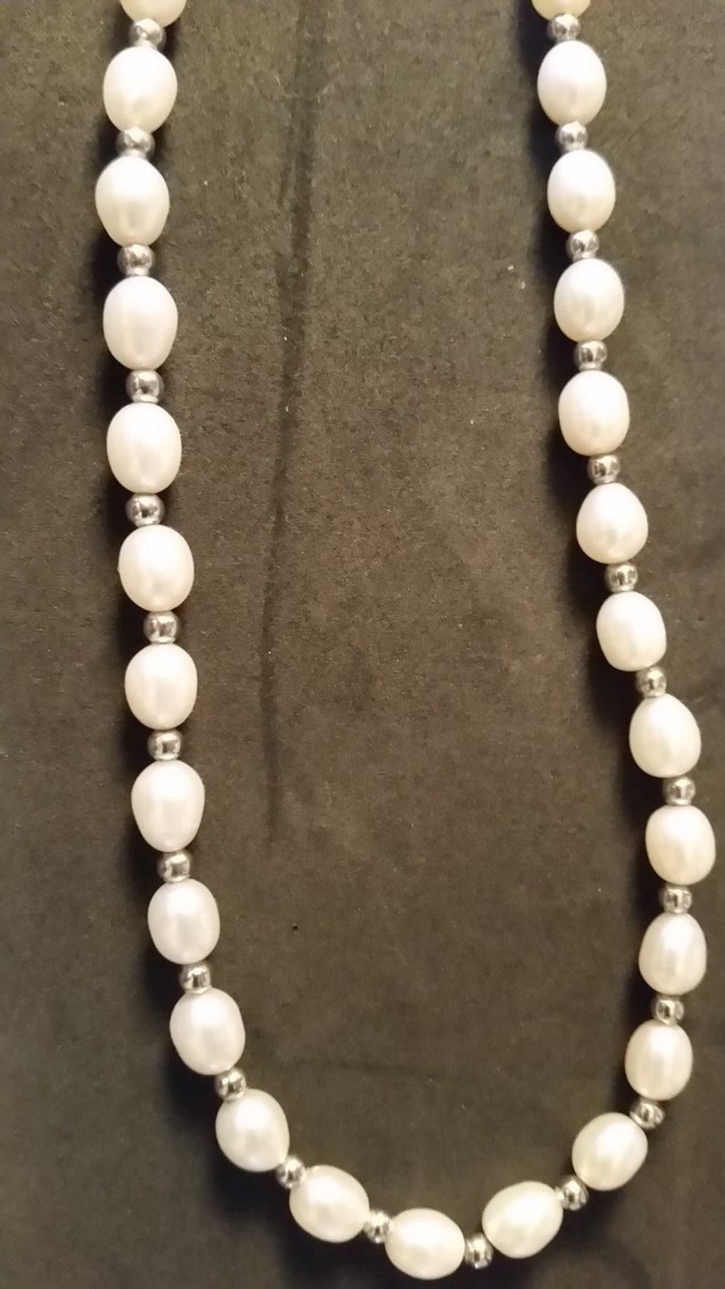 Sterling Silver and Fresh Water Pearl Choker Necklace 18 Pearl necklace Vintage Sterling necklace