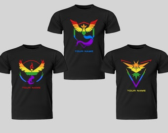 c4395d265726c Gay Pride Mens T-Shirt - Team Mystic, Valor, Instinct - Bespoke Tshirts - Pokemon  Go - Personalised with your name! HIGH QUALITY GARMENTS