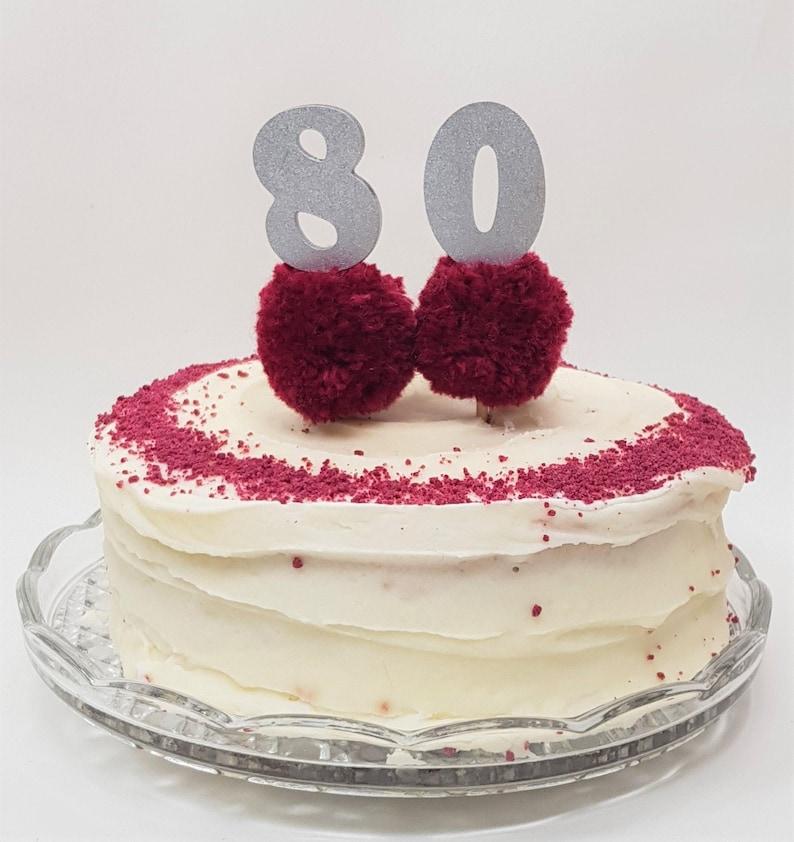 80th Birthday Cake Topper 80 Pom
