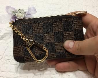 5b5d13c20a26 Handmade Louis Vuitton Genuine Leather KeyChain Purse Wallet Handmade  Leather Card Wallet