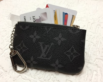 5a7efeb90969 Handmade Louis Vuitton Genuine Leather KeyChain Purse Wallet Handmade  Leather Card Wallet