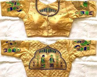 e85f9fbc422b7 Golden New Banglori Silk Embroidered Designer Elephant Wedding Party Wear  Readymade Blouse Padded Stitched Tunic Sari Choli Saree Top CT7