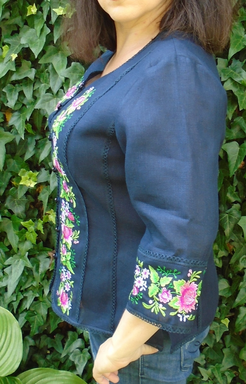 100/% Linen Pure Linen Blazer Womens Summer Gorgeous Embroidered Jacket With Embroidery Size XL