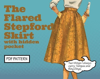 PATTERN Sew Vintage Women Flared Stepford Gored Pleated Panel Skirt with Pockets. Retro 1950s Recreation Sewing instant digital PDF download