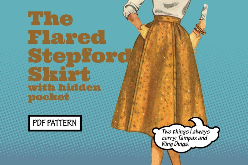 1950s Sewing Patterns | Dresses, Skirts, Tops, Mens PATTERN Easy Sew Vintage Women Flared Stepford Gored Pleated Skirt with Pockets. Retro 1950s Recreation Sewing instant digital PDF download $3.00 AT vintagedancer.com