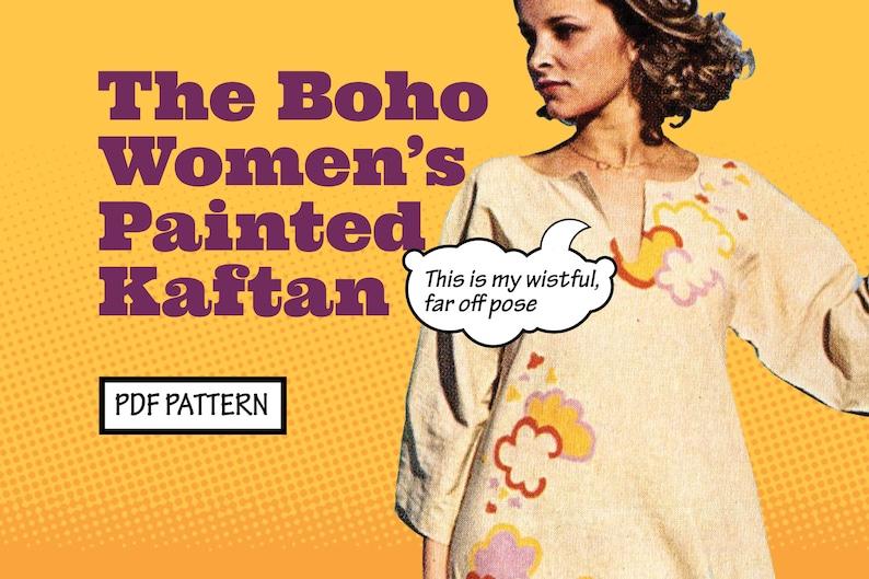 1960s Sewing Patterns | 1970s Sewing Patterns     PATTERN Sew Women Boho Hand Painted Kaftan or Hippie Tunic Vintage 1970s Recreation Sewing Pattern EASY instant digital PDF download $2.00 AT vintagedancer.com