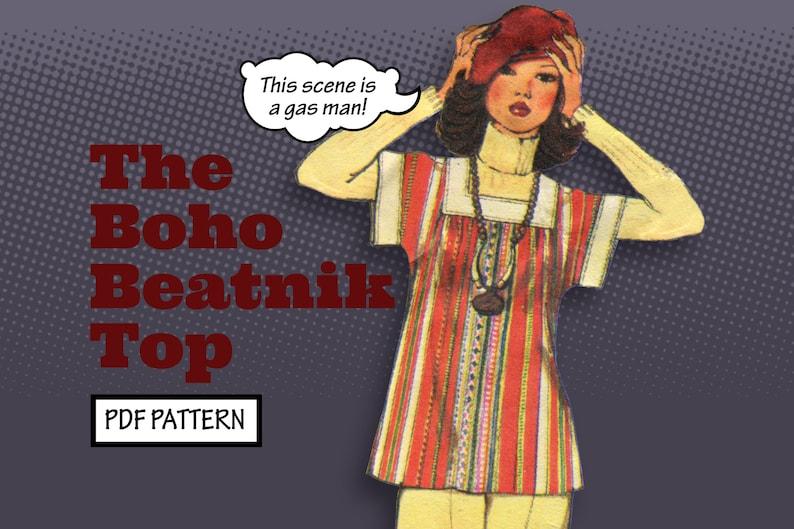 1960s Sewing Patterns | 1970s Sewing Patterns     PATTERN Easy Sew Women Boho Beatnik Top Pullover Tunic Striped Vintage 1940s 1950s 1960s Simple Sewing Pattern instant digital PDF download $4.00 AT vintagedancer.com