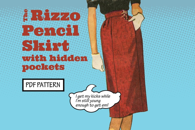 1950s Sewing Patterns | Dresses, Skirts, Tops, Mens PATTERN Easy Sew Vintage Women Rizzo Pencil Gored Pleated Skirt with Pockets. Retro 1950s Recreation Sewing instant digital PDF download $3.00 AT vintagedancer.com