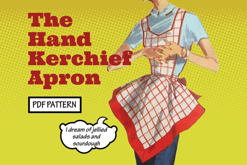 Vintage Aprons, Retro Aprons, Old Fashioned Aprons & Patterns PATTERN Easy Sew Vintage Women Fancy Handkerchief Apron with Pockets. Retro 1940s Sewing Pattern instant digital PDF download $1.00 AT vintagedancer.com