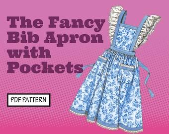 PATTERN Easy Sew Vintage Women Fancy Bib Apron or Basic with Pockets. Retro 1950s Recreation Sewing Pattern instant digital PDF download