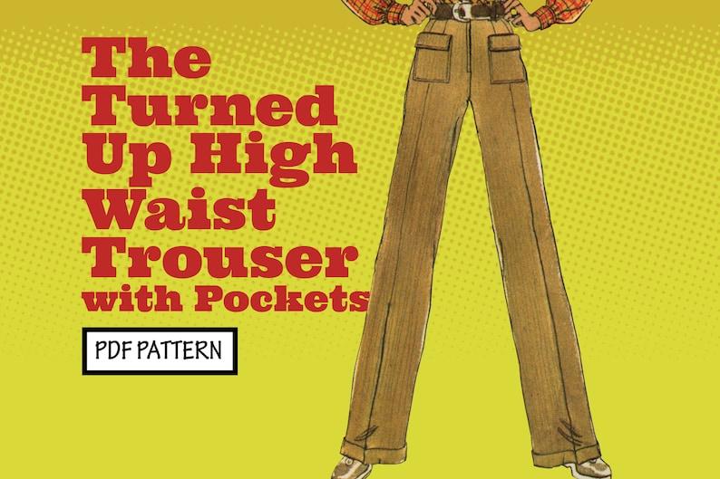 1960s Sewing Patterns | 1970s Sewing Patterns     PATTERN Easy Sew Vintage Women Turned Up High Waist Trouser Pants Bootcut Jeans Pockets Hippie Boho 1970s instant digital PDF download $4.00 AT vintagedancer.com