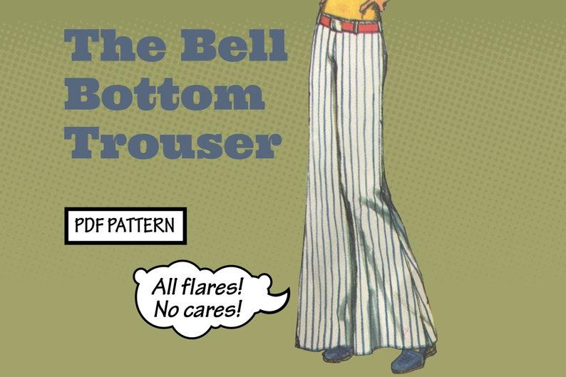 1960s Sewing Patterns | 1970s Sewing Patterns     PATTERN Easy Sew Vintage Women Bell Bottom Trouser Pants Flare Bootcut Jeans Dungarees Hippie Boho 1970s instant digital PDF download $4.00 AT vintagedancer.com