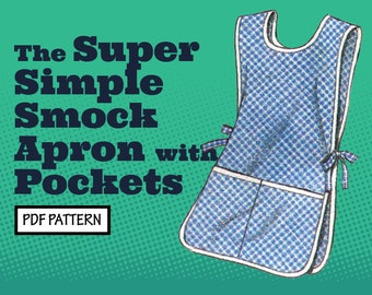 PATTERN Easy Sew Vintage Women Super Simple Smock Apron with Pockets. Retro 1960s Recreation Sewing Pattern instant digital PDF download