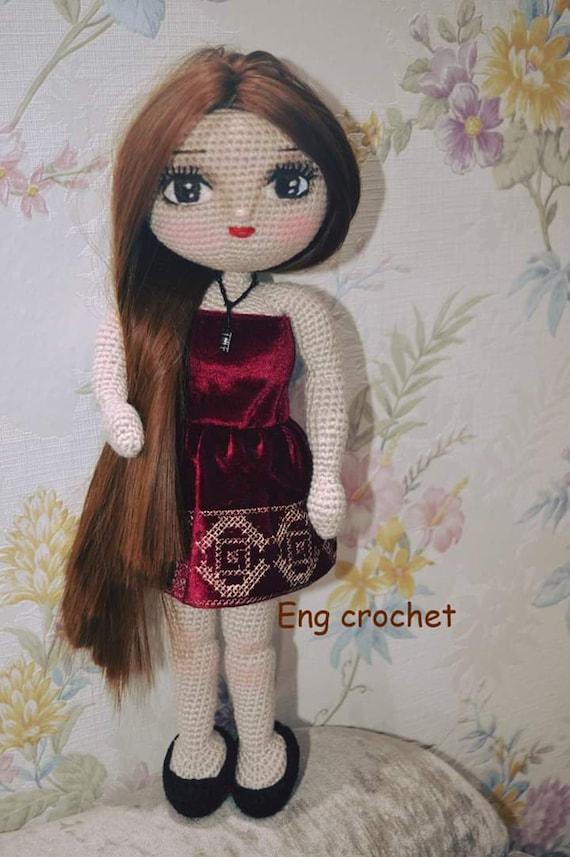 Handmade doll with curly hair Crochet amigurumi doll Interior doll ...   857x570
