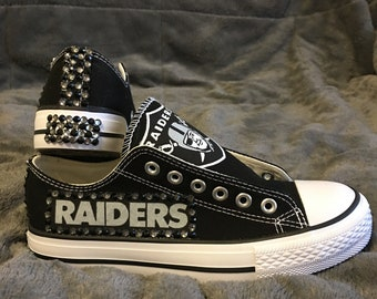 2c1d6d9a1140a4 NFL RAIDERS Bling Converse-like WOMEN S Shoes!