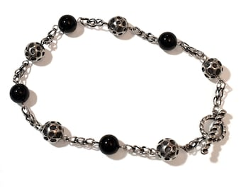 Dian Malouf Necklace of sterling cratered moon and onyx beads