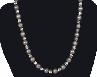 Hematite Beaded Necklace signed O.L. on sterling clasp.