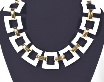 60s Trifari Mod Suite, white lucite necklace, bracelet and earrings