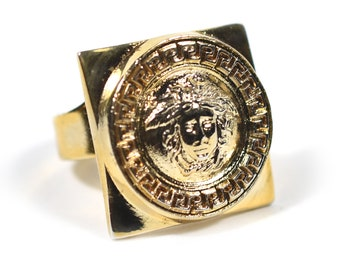 GIANNI VERSACE square gold-tone Medusa Head adjustable ring made in Italy