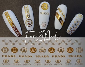 Designer nail decals | Etsy