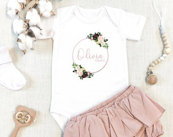 Personalized Baby Girl Onesie, Floral Baby Girl Onesie, Custom Girl Name Onesie, Newborn Onesie, Personalized Gift, Onesie for baby
