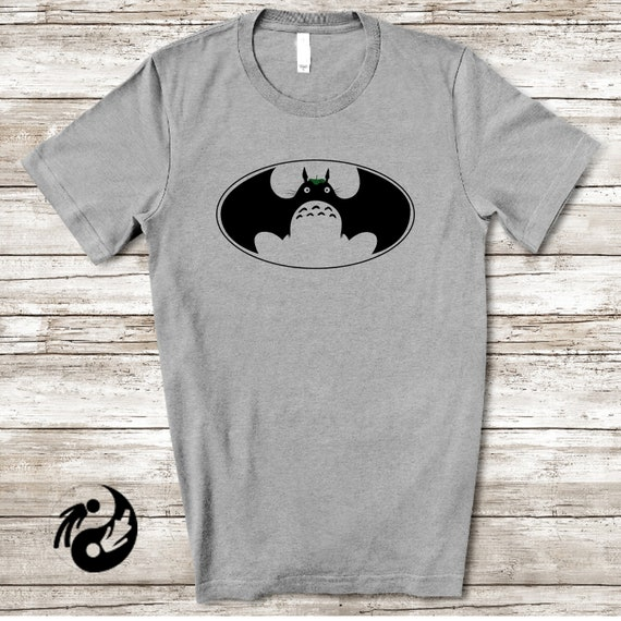 Totoro bat t shirt, Studio Ghibli & DC comics inspired tees, Japanese animation and American comics hybrid shirt design, unique t shirts