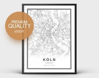 Köln Karte Deutschland.Köln Poster Etsy