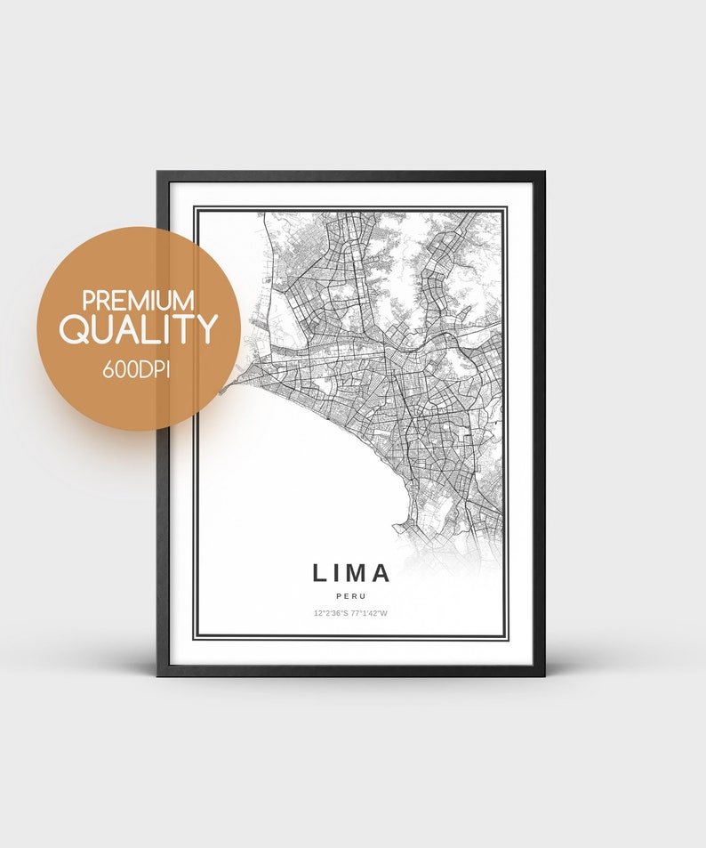 picture regarding Printable Map of Peru called Lima Map Print, Peru Map Artwork Poster, Town Highway Street Map Print, Printable Map, Black and White Map, Peru Town