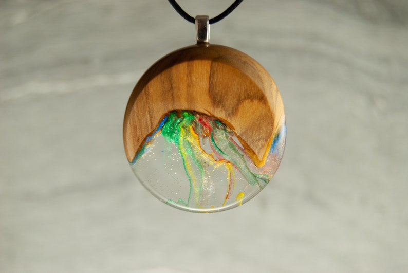 jewellery gift pendant Cloud resin hand painted
