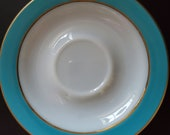 Vintage Pyrex saucers, set of 5, turquoise blue, circa 1950 39 s, milk glass, gold trim approx. 6 quot