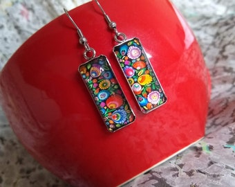 Hand-painted glass collection rings earrings