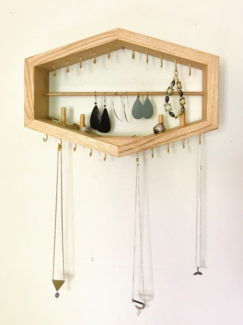 Hanging Wooden Jewelry Organizer Handmade geometric shelf image 0
