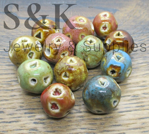 Pack Of 20 In Assorted Colours. Pearlized Porcelain Beads