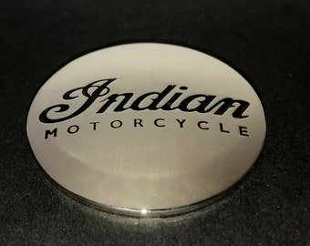 Indian Motorcycle screw-back concho - Indian motorcycle medallion - script style - Indian Motorcycle swag