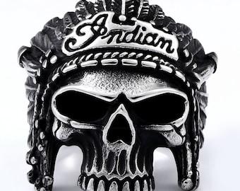 Indian Motorcycle mans ring - large skull ring - size 10 - Indian skull ring - Bikers Ring