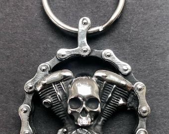 Motorcycle skull / engine stainless steel key tag - Indian Motorcycles - Harley skull / skull key tag for bikers