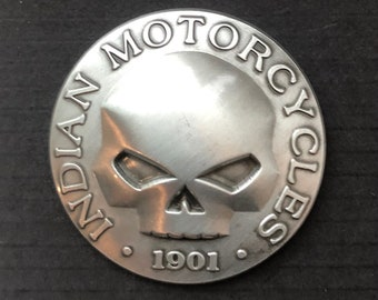Indian Motorcycle screw-back SKULL design concho - Indian motorcycle medallion - biker collectible - skull art