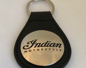 Indian Motorcycle Keychain - Indian Motorcycle key fob BLACK PLA leather Indian key tag