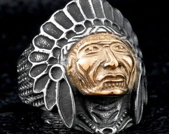 Indian Chief ring - size 10 - mens large ring - Indian Motorcycle two tone ring