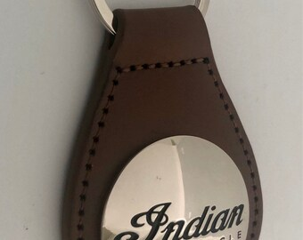 Indian Motorcycle Key Chain - PLU leather keytags - Indian script concho key rings - Indian Chief - BROWN - Indian Motorcycle Concho
