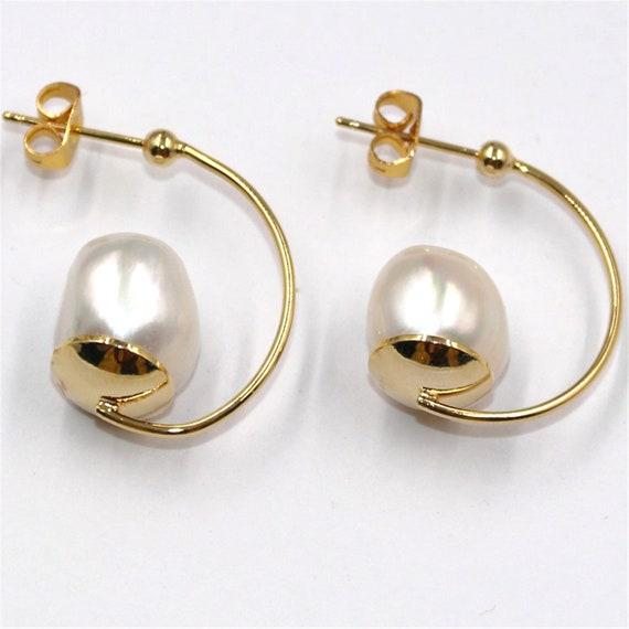 14-15mm Natural Peacock Purple Baroque Pearl Earrings Women Diy Hook Jewelry AAA
