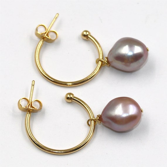 12-13MM baroque violet pearl necklace 18K GOLD  flawless Cultured south sea REAL