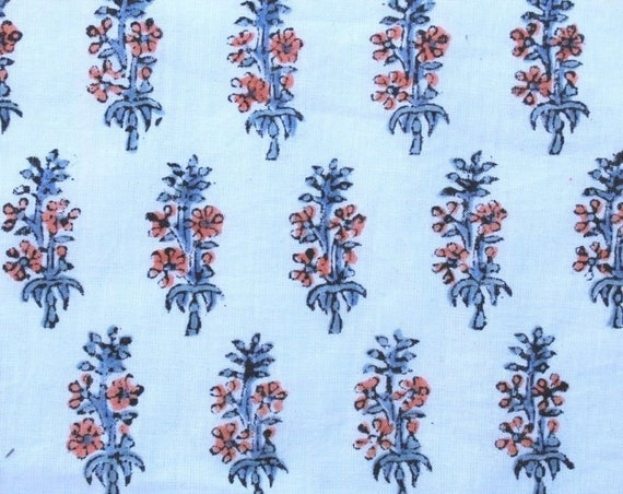 10 Yards Floral Indian Cotton Voile Hand Block Print Fabric Floral Print Fabric